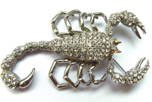 A Diamond Studded Silver Scorpion